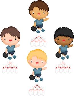 Un vettore di giocatori di bowling in diverse tonalità della pelle