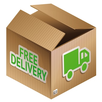 Vector box with free shipping - internet shopping