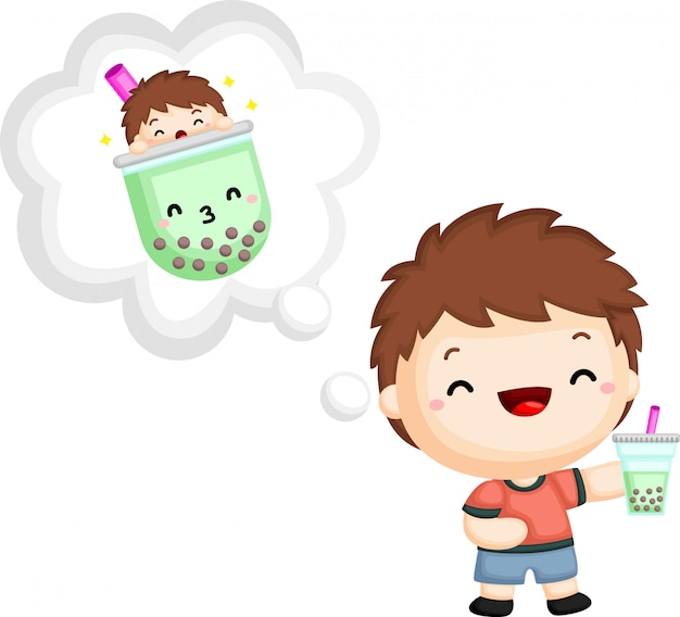 A vector of a boy holding a bubble tea