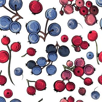 明るい花とベリーのシームレスな背景のベクトル