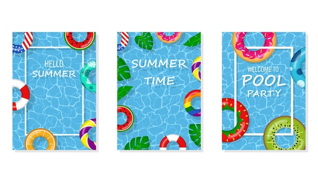 Vector bright and fun advertising poster template for pool party. welcome to pool party flyer with swimming pool, floating rings and tropical leaves. pool summer party, poster or banner illustration.