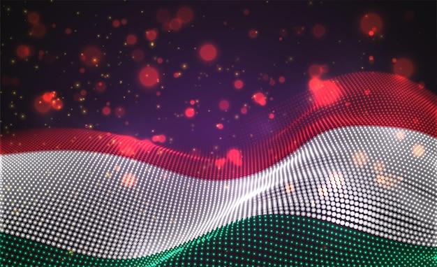 抽象的なドットのベクトル明るく輝く国旗。ハンガリー