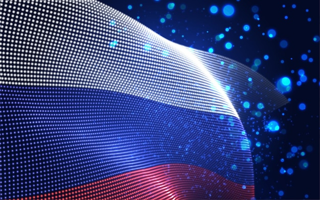 Вектор яркий светящийся флаг страны абстрактных точек. россия