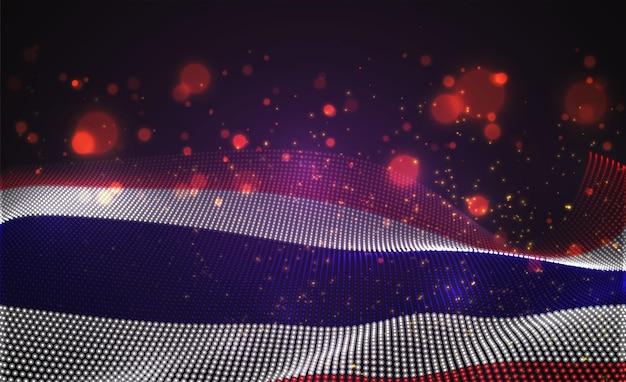 抽象的なドットのベクトル明るく輝く国旗。タイ