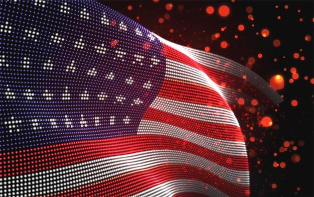 抽象的なドットのベクトル明るく輝く国の旗。米国