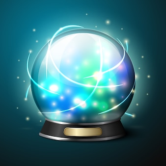 Vector bright glowing crystal ball for fortune tellers.