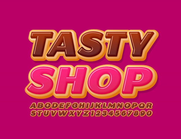 Vector bright logo tasty shop. chocolate cake font. sweet donut alphabet letters and numbers