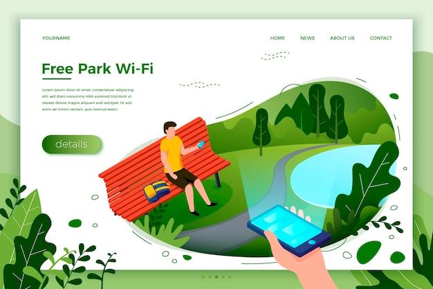 Вектор яркий шаблон баннера парка, человек на скамейке с телефоном, на ярком летнем фоне с прудом и деревьями. с местом для вашего текста