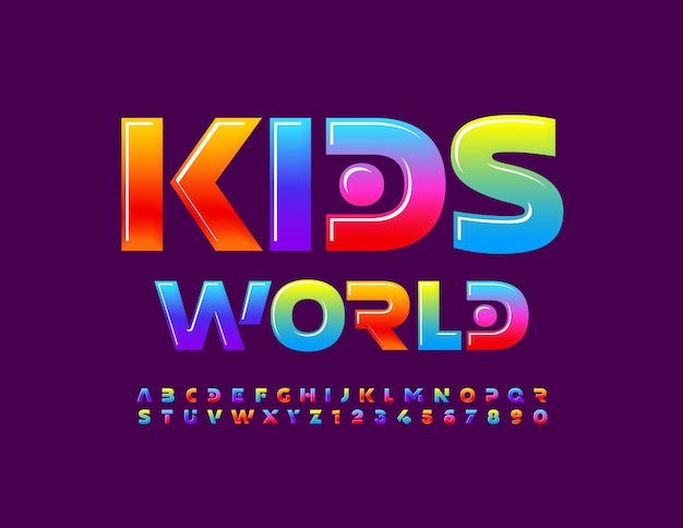 Vector bright poster kids world cute colorful font creative abstract alphabet letters and numbers