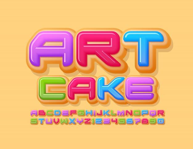 Вектор яркий знак art cake с творческим шрифтом. красочные пончик буквы алфавита и цифры