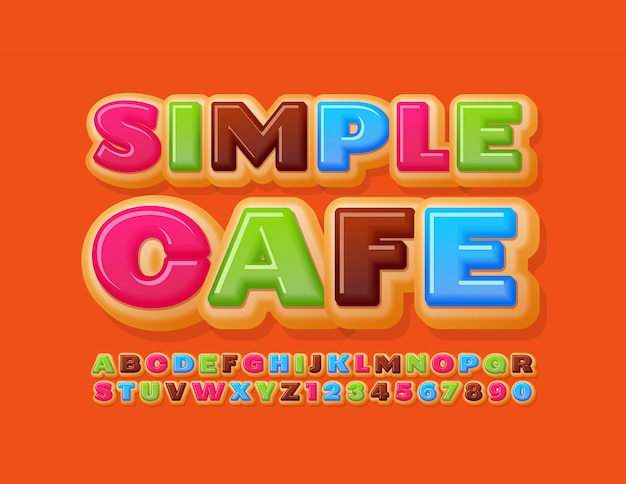 Vector bright template simple cafe. cake sweet font. delicious donut alphabet letters and numbers