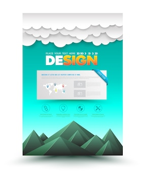 Vector brochure flyer design layout mountain