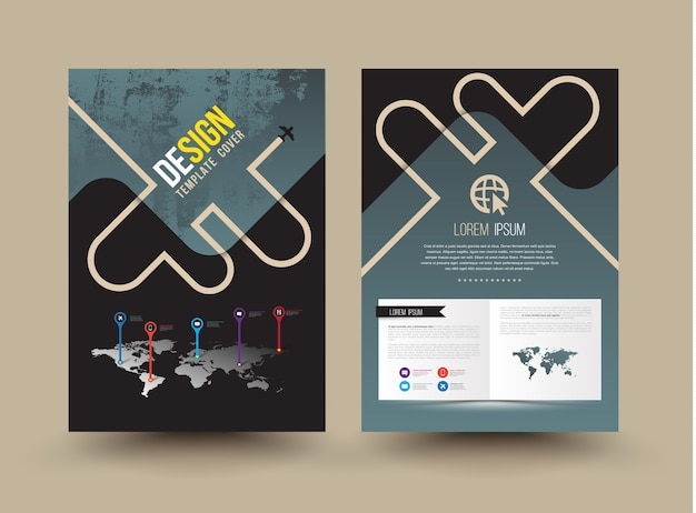 Vector brochure template design cartoon style