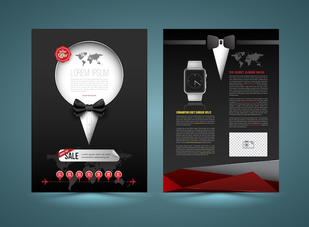 Vector brochure template design tuxedo style