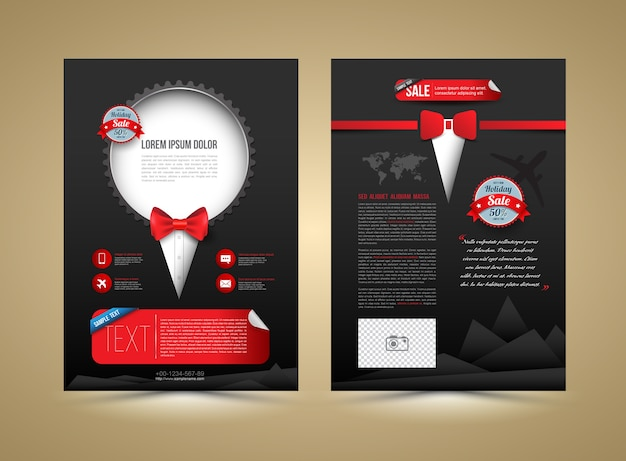 Vector brochure template design tuxedo style