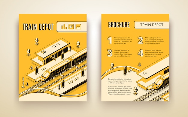 Vector brochure template for train depot. 3d isometric vehicle on railroad and station