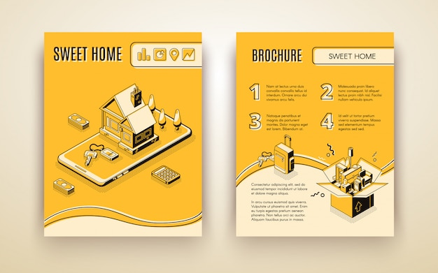 Vector brochure template with 3d isometric house moving - travelling by smart technologies