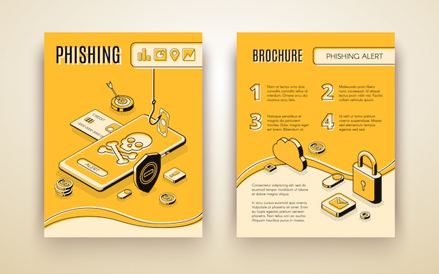 Vector brochure template with 3d isometric phishing alert concept