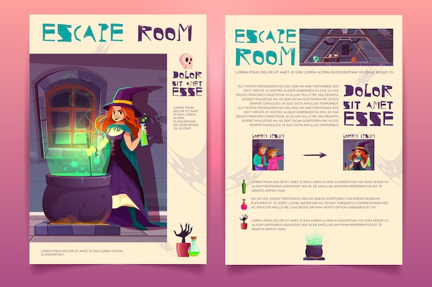 Vector brochure template with escape room from witch hous