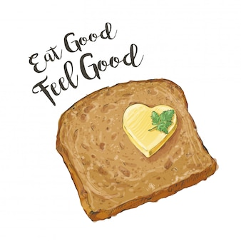 Vector brown bread with butter