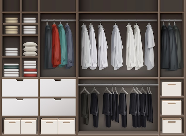 Vector brown cloakroom closet with shelves full of boxes and clothes shirts,trousers pants, jackets front view