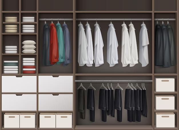 상자와 옷 셔츠, 바지 바지, 재킷 전면보기로 가득 찬 선반이있는 벡터 갈색 휴대품 보관소 옷장