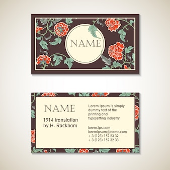 Vector brown floral visit card template