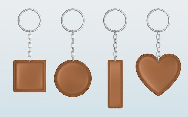 Vector brown leather keychain, holder for key