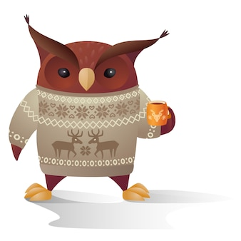 Vector brown owl character in warm sweater with cup of tea