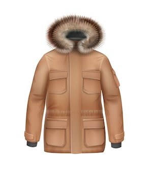Vector brown sport winter coat with fur hood front view isolated on white background