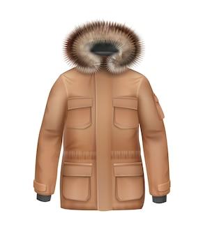 Cappotto di inverno di sport marrone di vettore con vista frontale del cappuccio della pelliccia isolata su fondo bianco