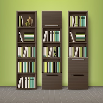 Vector brown wooden bookcases, full of different books and decorations, standing on floor with green, olive wall background