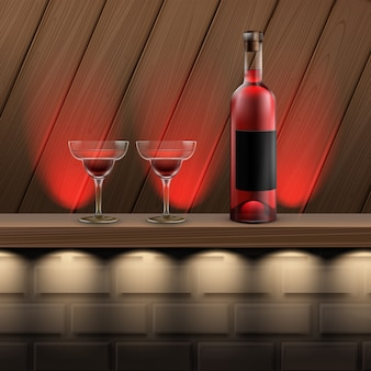 Vector brown wooden shelf with red backlights, bottle of wine and cocktail glass on brick background