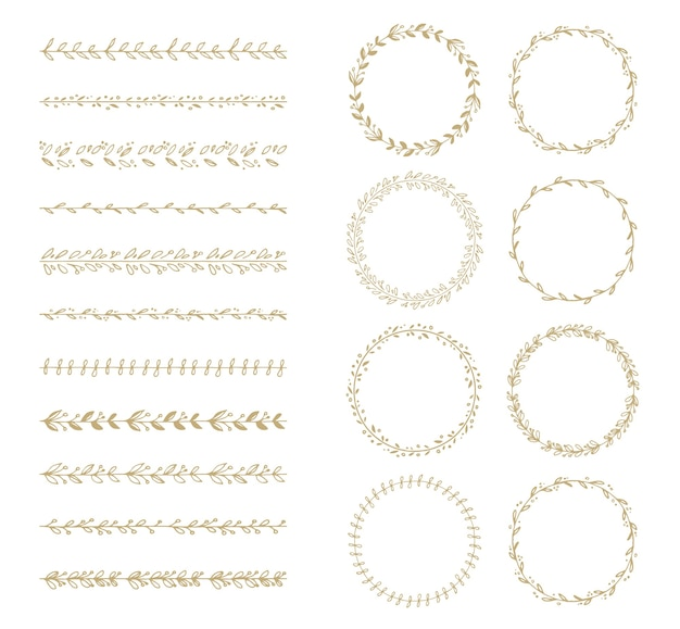 Vector brush and laurel wreath collection
