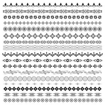 현대적이고 고전적인 패턴, 테두리를 만드는 꽃 모티브로 설정된 벡터 브러시, 텍스트 나누기 및 장식. 초대장, 생일 및 인사말 카드, 인증서 라인 아트 프레임.