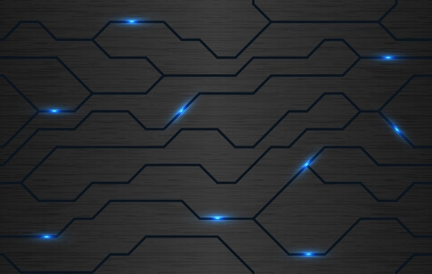 Vector brushed metal background with energy lines