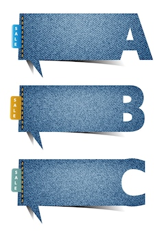 Vector bubble blue jean craft stick alphabet letters banner