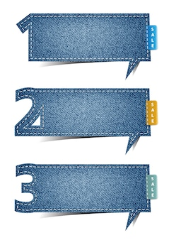 Vector bubble blue jean craft stick number banner
