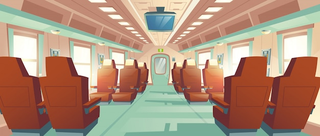 Vector bullet train cabin, express railway carriage