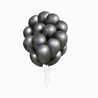 Vector bunch of black glossy balloons