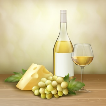 Vector bunch of white grape, bottle and glass of wine with cheese on wood table.