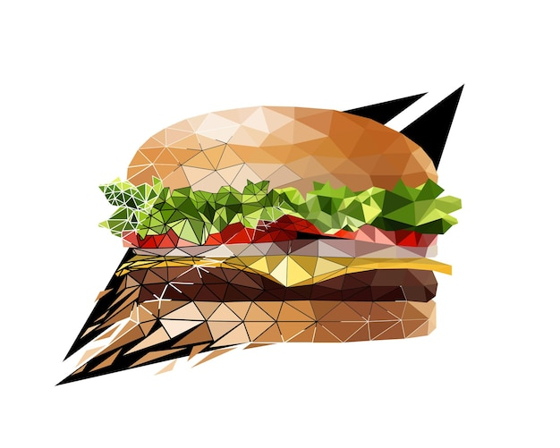 Vector burger in low poly style. digital art