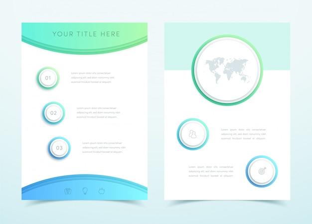 ベクトルビジネスブルー3 dページテンプレートインフォグラフィック