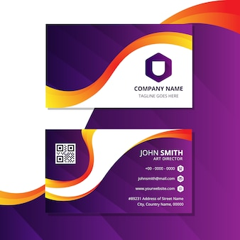 Vector business card, abstract wave, liquid modern, colors are orange and purple, background