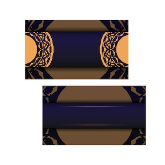 Vector business card design in blue color with luxury patterns. stylish business cards with a place for your text and vintage ornaments.
