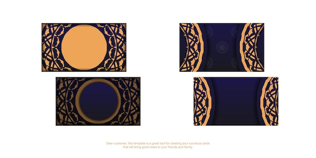 Vector business card design in blue with luxury ornaments. stylish business cards with space for your text and vintage patterns.