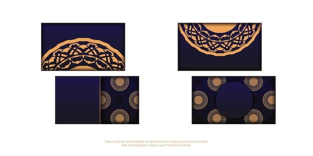 고급 장신구와 파란색에서 벡터 명함 디자인입니다. 텍스트와 빈티지 패턴을 위한 공간이 있는 세련된 명함.