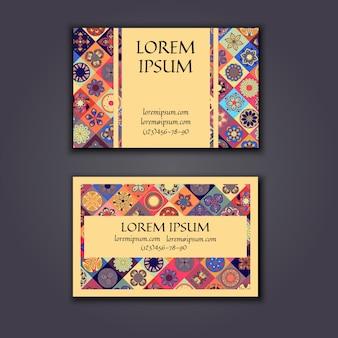Векторные визитные карточки шаблон дизайна с орнаментом геометрический шаблон мандалы.