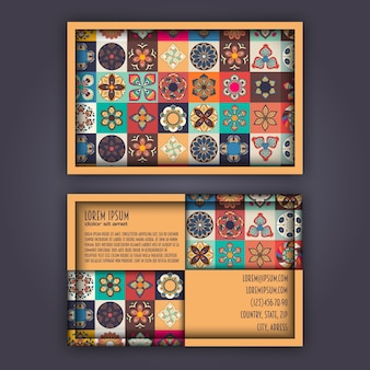 Vector business card design template with ornamental geometric mandala pattern.