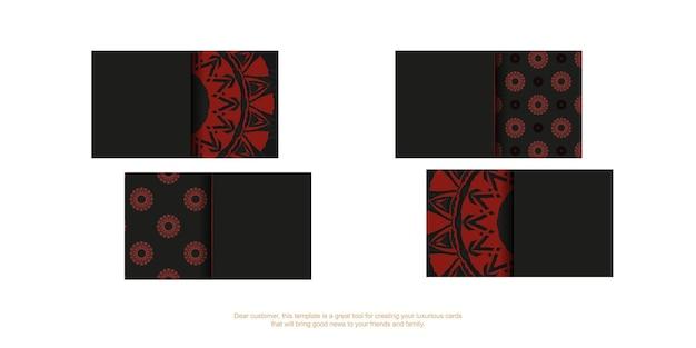 あなたのテキストとヴィンテージの飾りのための場所とベクトル名刺の準備。ギリシャの赤い模様の黒い名刺デザイン。